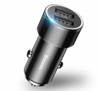 Автомобильная зарядка Baseus Small Screw 3.4A Dual-USB Car Charger Black (CAXLD-C01)