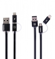 Кабель 2 в 1 USB/Lightning + Micro USB Remax Data Cable Aurora Cable Black