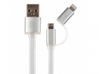 Кабель 2 в 1 USB/Lightning + Micro USB Remax Data Cable Aurora Cable White