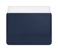 "Карман для MacBook Pro 15"" (2016/2017/2018) WIWU Skin Pro PU Leather Sleeve Тёмно-синий (Navy Blue)"